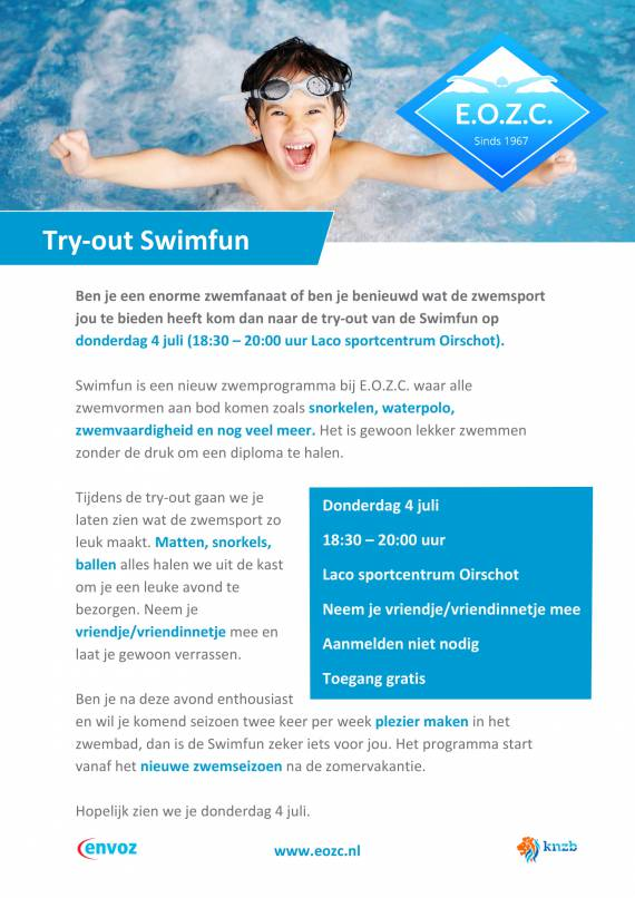 4 juli try-out Swimfun
