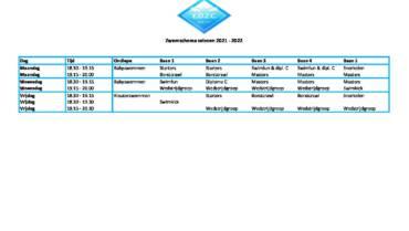 Zwemschema 2021 – 2022